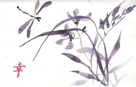 Akimova: ORCHID AND DRAGONFLY, watercolor, black&white, garden, birds, ink - $9.00