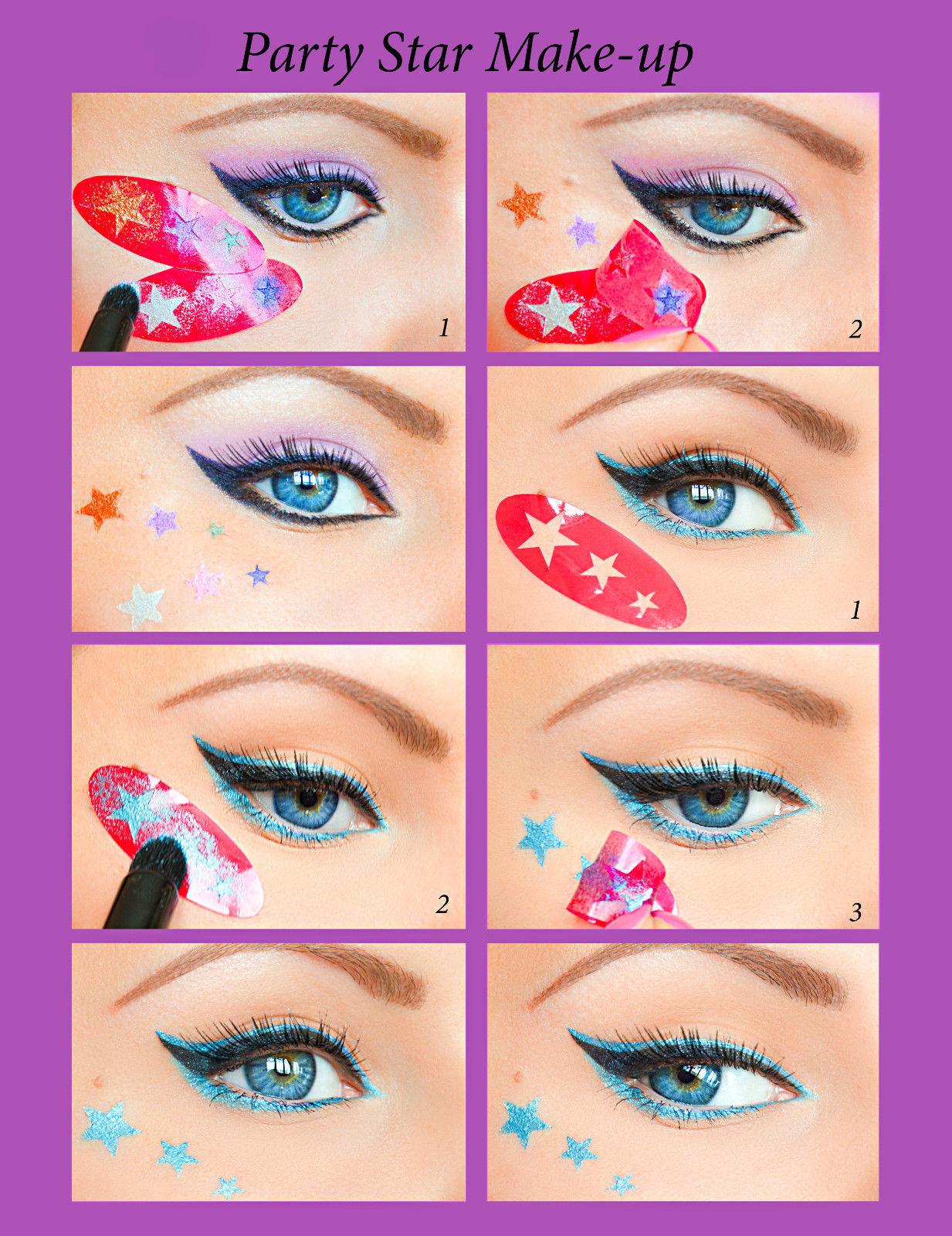 Schnelle Eyeliner/Augenlinie Stickies/Schablonen/Stencils Augenschminken NEU DE1