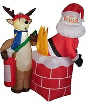 Christmas Inflatable Santa On Fire With Reindeer Fireman Airblown Yard Prop - $130.67