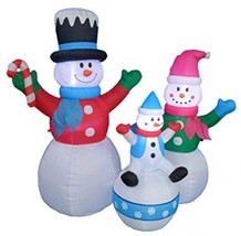 6 Foot Tall Christmas Inflatable Snowman Snowmen Family Lighted Yard Dec... - $161.36
