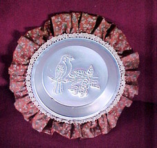 Tin Pan Punch BIRD Pattern- Trimmed in lace& Rust Floral Fabric-Colonial... - $11.99