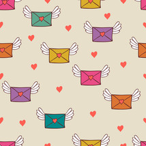 4 Seamless Pattern with Post Letters Love Mail-Digital Clipart - $4.00
