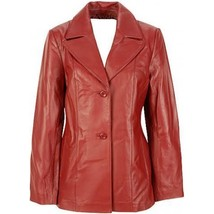 Women's Red Leather Trunch Coat front Button - $139.97