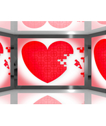 Puzzle Heart on Screen Showing Romantic Movies ... - $3.00