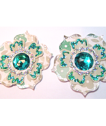 Paper Flower Embellishments Silver Teal Taupe Rosettes - $3.00