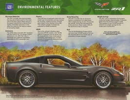 2009 Chevrolet CORVETTE ZR1 Environmental Features sales brochure sheet ... - $9.00