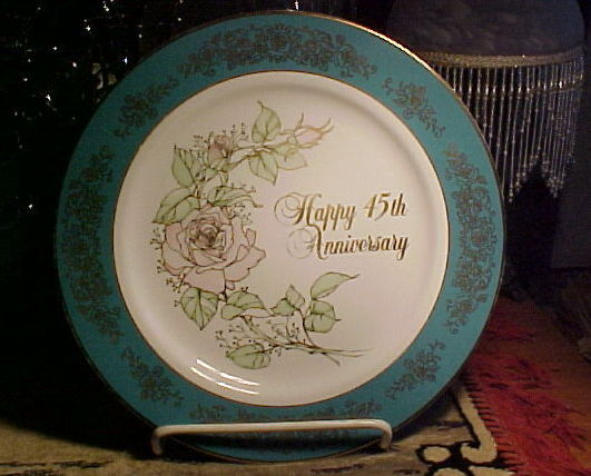 ENESCO 45th Anniversary Dinner Plate with AQUA BORDER;GOLD Trim; PINK ROSE,1983