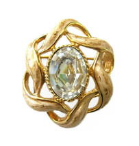 St. John Gold Tone Enamel & Rhinestone Brooch /... - $32.00
