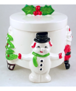 Vintage ceramic candy dish Santa snowman Christ... - $25.00