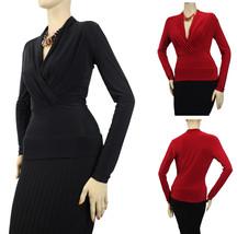 Lady Sexy V- Neck Long Slv Wrap BLOUSE w/Necklace Stretch Dressy Shirt S... - $19.99