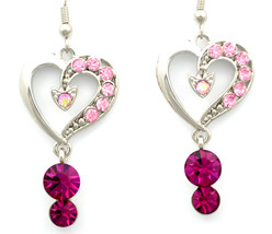 Stunning love heart Fuchsia Swarovski crystal dangle pierced earrings - $28.21 CAD