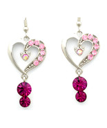 Stunning love heart Fuchsia Swarovski crystal dangle pierced earrings - $22.00