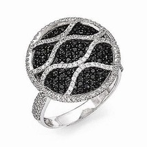 BRILLIANT EMBERS STERLING SILVER BLACK AND CLEAR CONTEMPORARY CZ RING  -... - £114.90 GBP