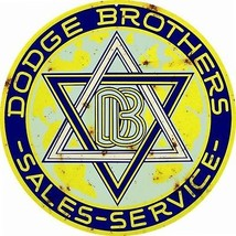 Reproduction Yellow Dodge Brothers Service Sign 14 Round - $25.74