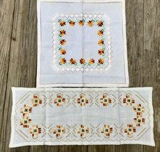 Set Of 2 Finished Needlework Honey Gold Florals Graphics        #022008 - £11.45 GBP