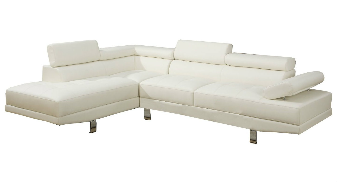 2 piece deluxe bonded white leather sectional right chaise for Bonded leather sectional with chaise