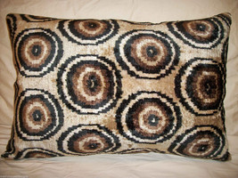 Silk And Cotton Velvet Ikat Accent Pillow Cover - $65.00