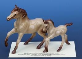 Hagen Renaker Miniature Horse Buckskin Mare Colt Figurine Set of 2 Red Point