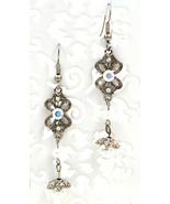 Gorgeous retro clear Swarovski crystal pearl butterfly dangle pierced ea... - $19.99