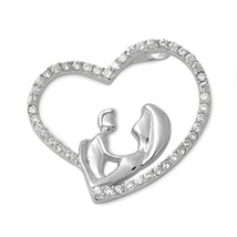 Sterling Silver Mother and Child CZ Heart pendant Love New d57 - $12.49