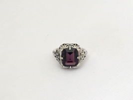 Vintage Sterling Silver Natural Amethyst Filigree Ring Size 5.75 - $52.00
