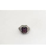Vintage Sterling Silver Natural Amethyst Filigree Ring Size 5.75 - $52.00