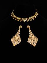 Vintage Rhinestone set / yellow choker / Dramatic LONG Chandelier earrings   - $145.00