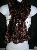 N WOMEN SCARF DARK CHOCOLATE FURRY PARTY SCARVE NEW YEAR STYLE 100% POLY... - $24.38 CAD