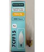 7W 120V Frosted Flame Bent Tip Decorative Bulb, Candelabra Base 7CFF15 - $13.49