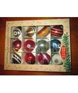 "Vintage LOT OF 12 Shiny BRITE GLASS CHRISTMAS ORNAMENTS 2"" shabby varied... - $39.55"