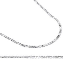 14k White Gold Finish Over Solid Sterling Silver 3.5 mm Figaro Chain, 16... - $35.95+