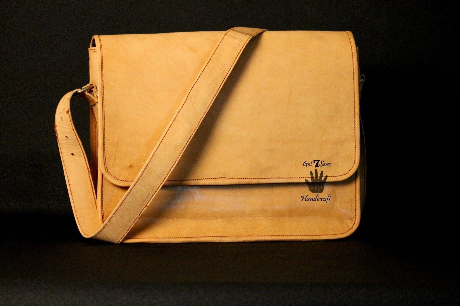 Mens Satchel Brown Leather Messenger Bag Laptop Shoulder Crossbody Briefcase