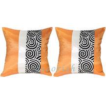 Set 2 Orange Silk Deorative Pillow Cover with Spiral Middle  - $14.99