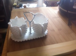 FENTON 3 PIECE HOBNAIL MILK GLASS CREAMER PITCH... - $14.95