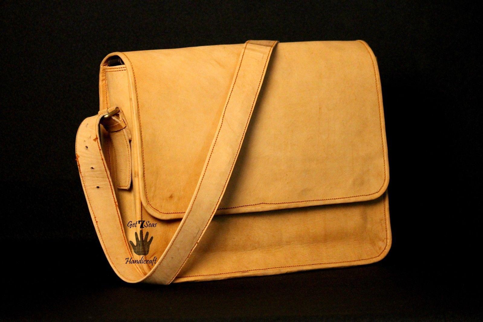 Mens Satchel Brown Leather Messenger Bag Laptop Shoulder Crossbody Briefcase image 2