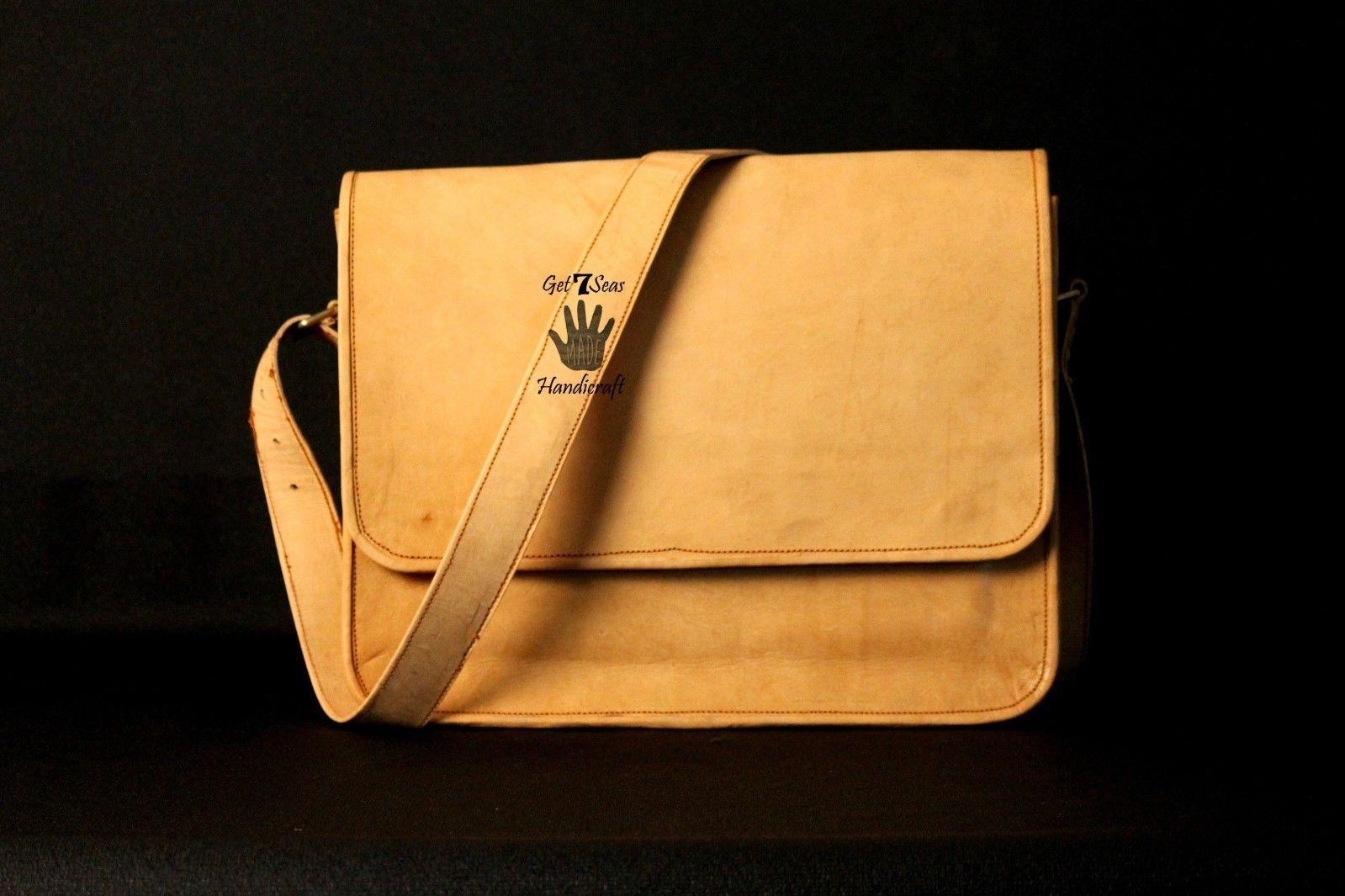 Mens Satchel Brown Leather Messenger Bag Laptop Shoulder Crossbody Briefcase image 3