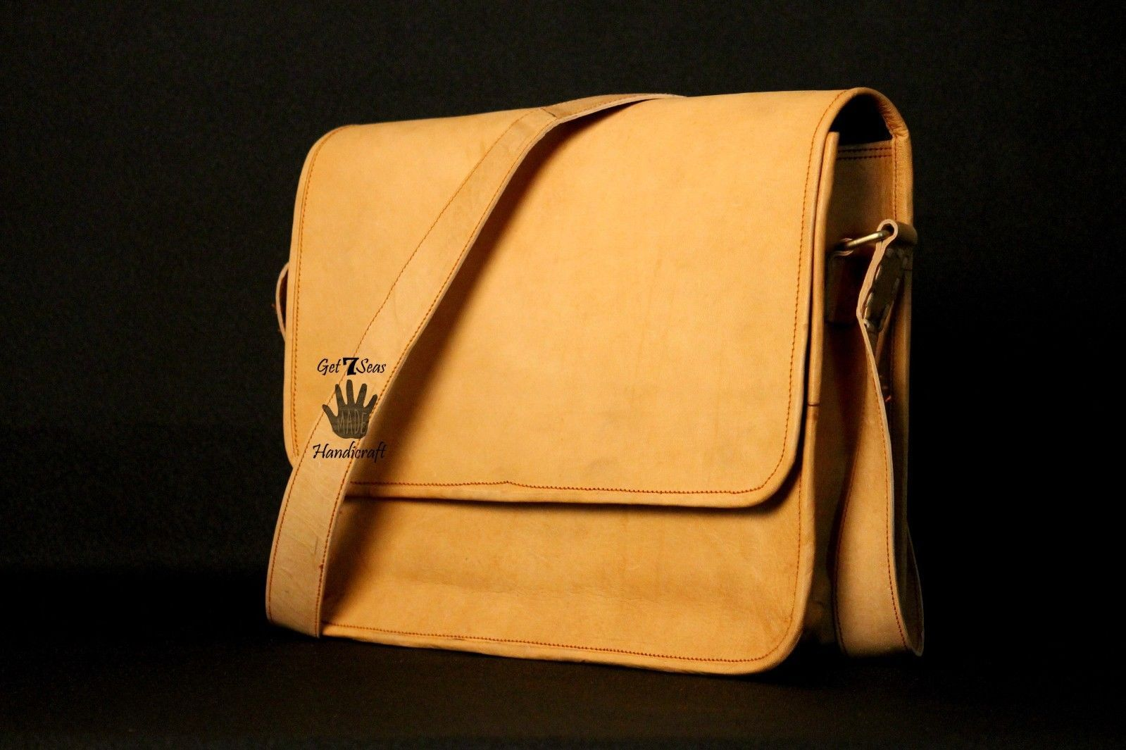 Mens Satchel Brown Leather Messenger Bag Laptop Shoulder Crossbody Briefcase image 4