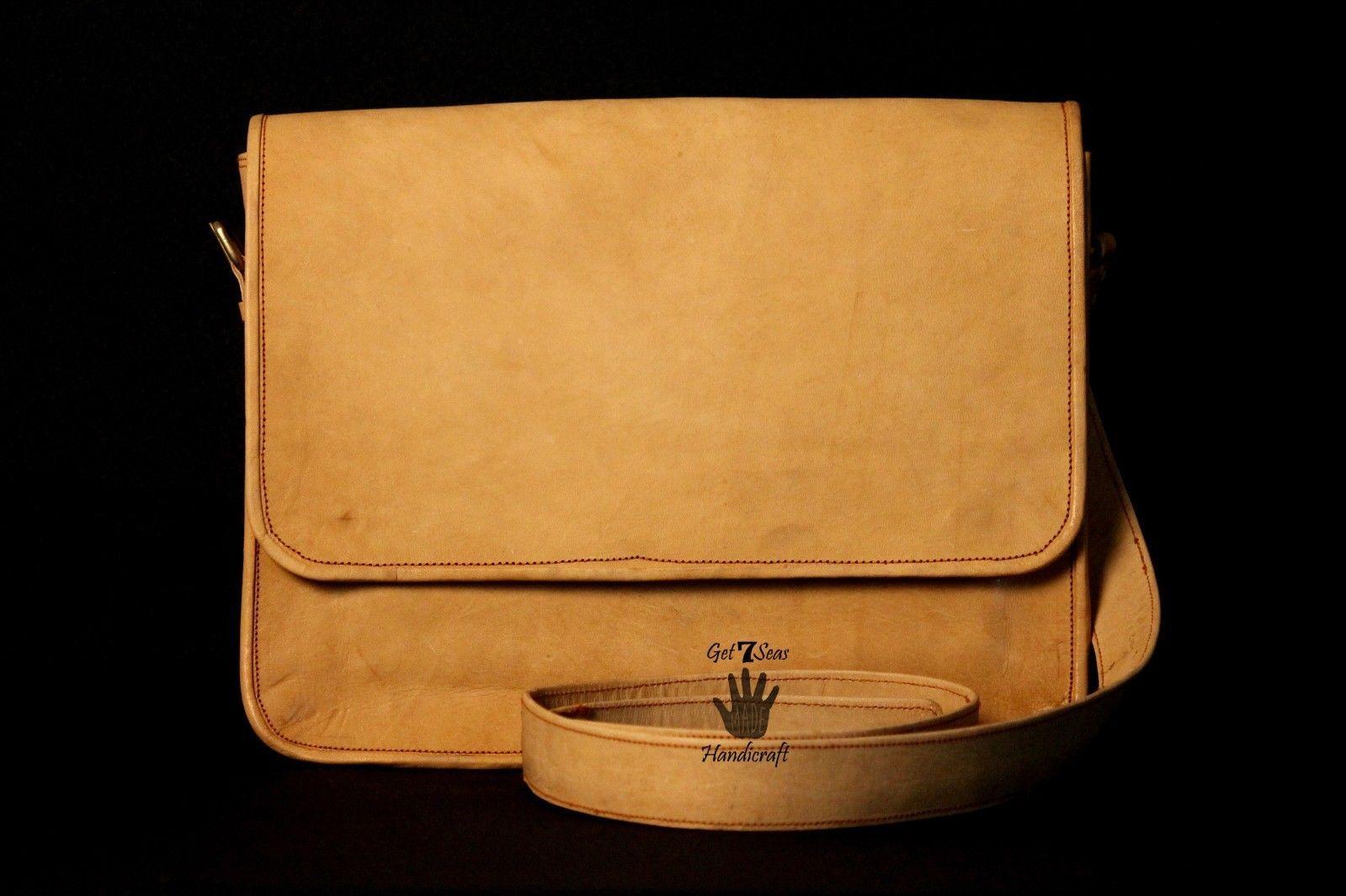 Mens Satchel Brown Leather Messenger Bag Laptop Shoulder Crossbody Briefcase image 5
