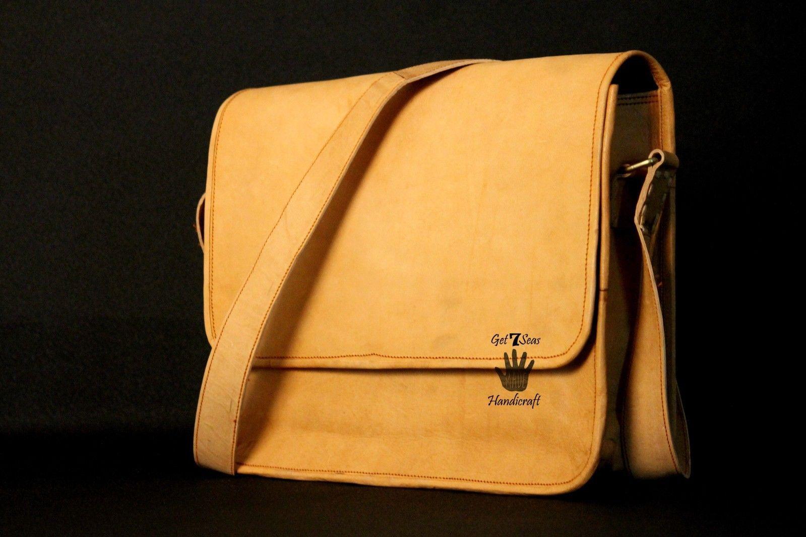 Mens Satchel Brown Leather Messenger Bag Laptop Shoulder Crossbody Briefcase image 6