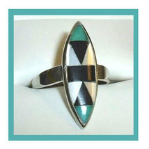 Sterling Silver Natural Zuni Turquoise White Mother of Pearl Black Onyx ... - $89.99
