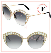 GUCCI HOLLYWOOD FOREVER 0114 Gold Gray Gradient Crystal Stud Sunglasses ... - $642.51