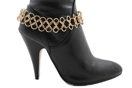 Moda Donna Catena di Metallo Gemelli Scarpa Stivale Circoli Infinity Oro... - $28.84