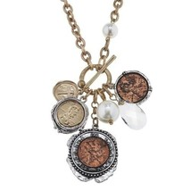 "Pre-made Charm Toggle 30"" Necklace Worn Gold and Oxidized Silver Coin Cluster..."