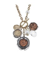 """Pre-made Charm Toggle 30"""" Necklace Worn Gold and Oxidized Silver Coin Cl... - $34.64"""