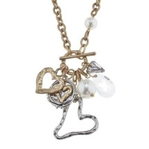 "Pre-made Charm Toggle 30"" Necklace Worn Gold and Oxidized Silver Heart Cluste..."