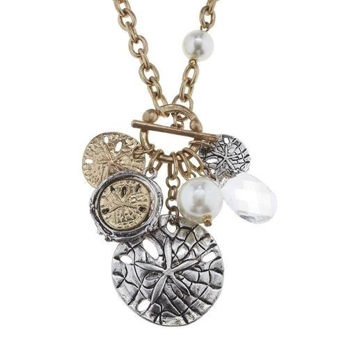 "Pre-made Charm Toggle 30"" Necklace Worn Gold and Oxidized Silver Sand Dollar ..."