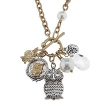 "Pre-made Charm Toggle 30"" Necklace Worn Gold and Oxidized Silver Owl Cluster ..."
