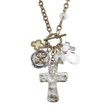 """Pre-made Charm Toggle 30"""" Necklace Worn Gold and Oxidized Silver Cross Cluste..."""