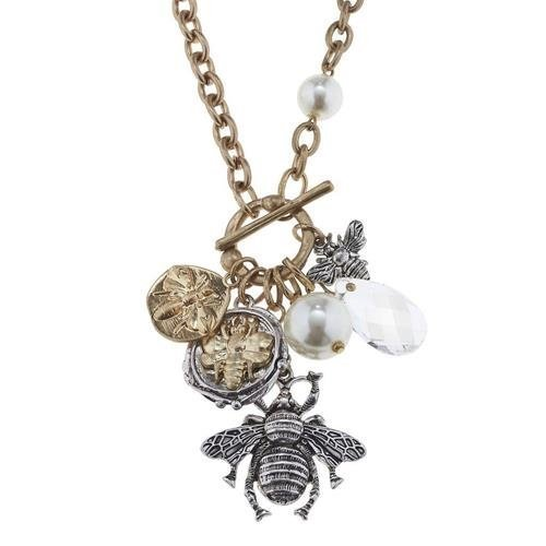 "Pre-made Charm Toggle 30"" Necklace Worn Gold and Oxidized Silver Bee Theme"