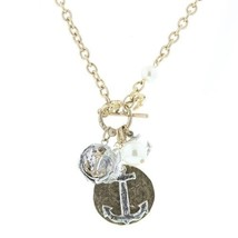 """Pre-made Charm Toggle 30"""" Necklace Worn Gold and Oxidized Silver Anchor Clust..."""